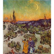 Stretched Oil painting pictures Promenade Evening canvas Vincent Van Gogh wall art modern home decor(China)