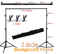 Good quality 2.8M X 3M Pro Adjustable Background Support Stand Photo Backdrop Crossbar Kit Photography stand +3 clips(China)