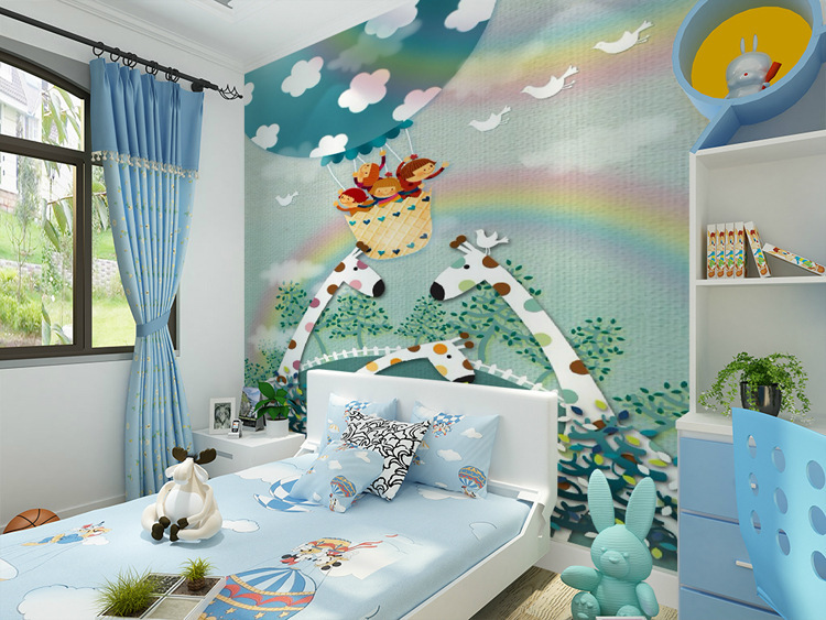 3d large mural wallpaper giraffe green children warm bedroom cartoon mural wallpaper for walls 3 d papel de parede para quarto<br><br>Aliexpress