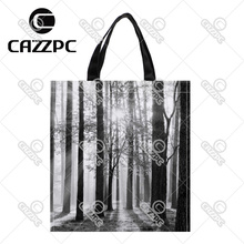 Black and white winter landscape forest Print Custom individual waterproof Nylon Fabric shopping bag gift bag Pack of 2