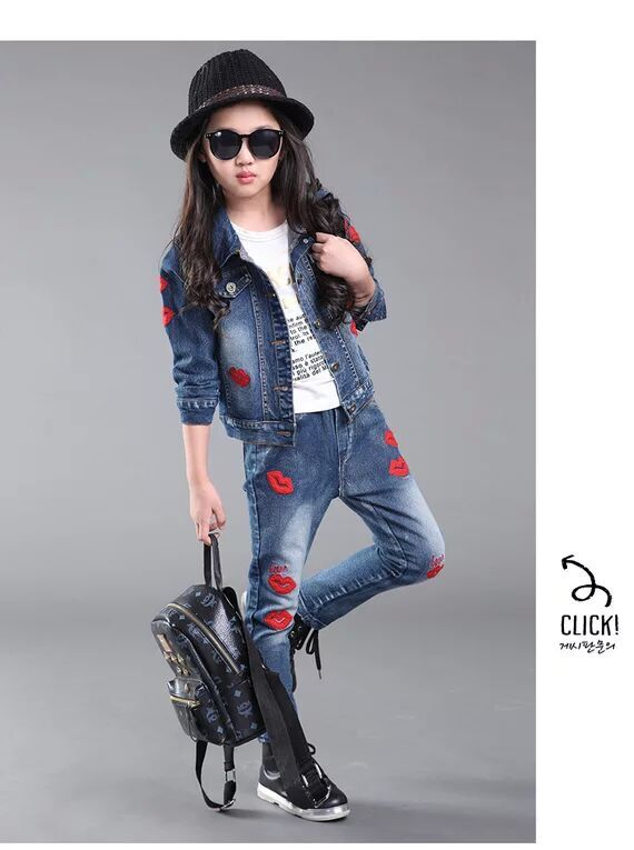 Hot sales Girls Cowboy set long-sleeved cloth+ long jeans  LOVE red lips 2017 spring autumn fashion cute<br><br>Aliexpress