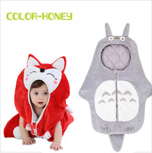 Baby Totoro Sleeping Bags Winter Newborn Minions Anti-kick Sleepsack Infant Kitty Flannel Strollers Cartoon Bed Swaddle Blanket