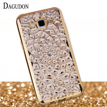DAGUDON Case For Samsung Galaxy J5 2015 Silicon Soft Diamond Bling Gold Plating Phone Cover for Samsung J5 2015 J500 J500H J500M