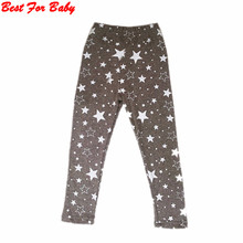 Trendy Kid Girls Stretchy Skinny Leggings Trousers Star Printed Warm Pants