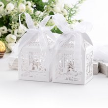 Beautiful 50pcs/lot Love Heart Birds Pattern Candy Boxes Wedding Party Favour Gifts With White Ribbon