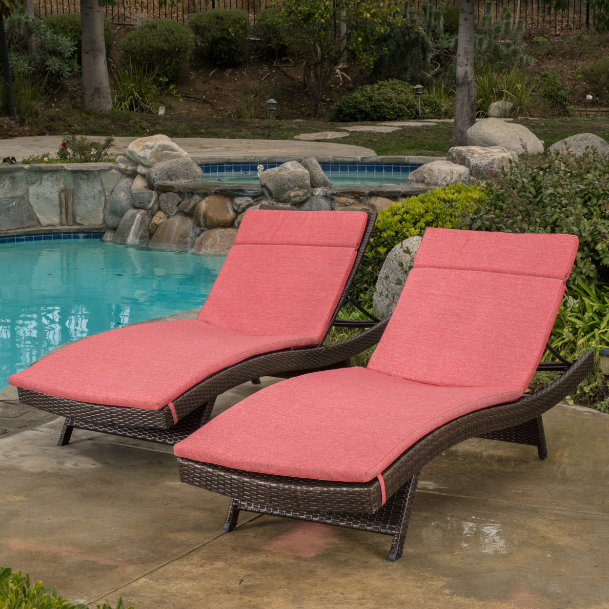Lakeport Outdoor Adjustable Chaise Lounge Chairs w/ Cushions (set of 2) (1)