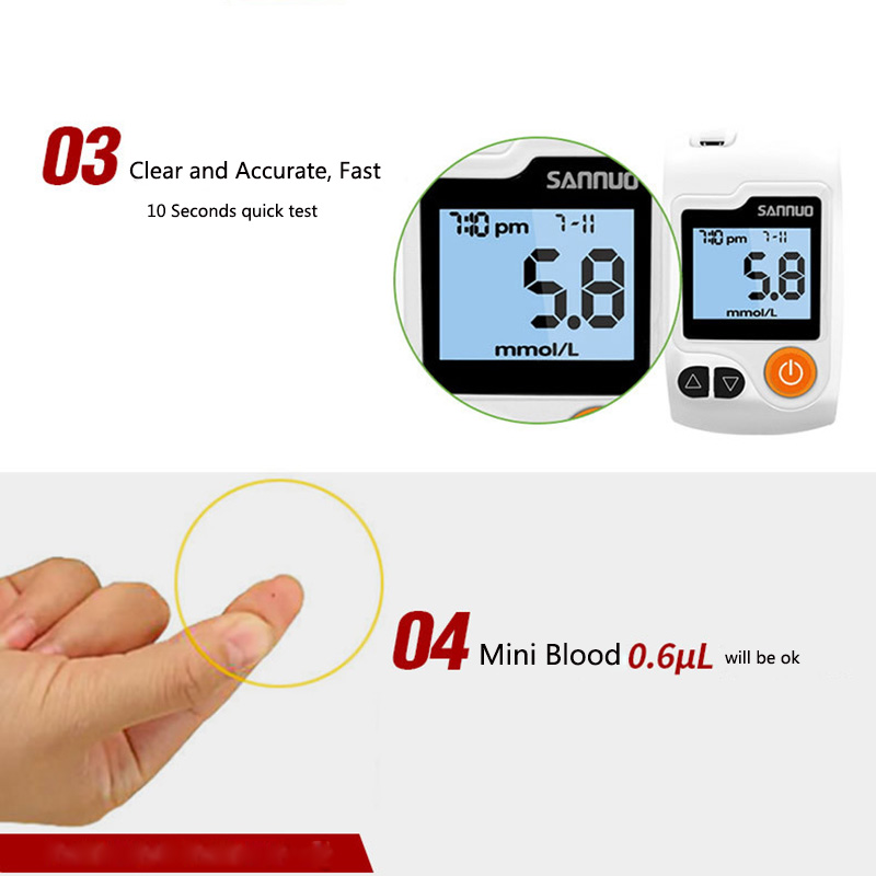 NEW Safe Accurate Blood Glucose Meter Level 10 Seconds Quick Test Glucometer Blood Sugar Monitor Meter 150pcs strips And Needle (3)