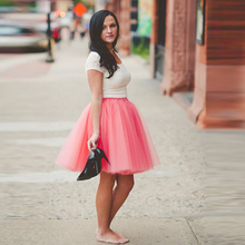 Trendy 2016 Coral Knee Length Tulle Skirt Puffy 5 Layers And 1 Lining Tutu Skirt For Lady Sky Blue Silver Lavender