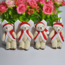 "Wholesale 2.4"" Christmas Plush Mini Lovely Teddy Bear With Bow Sfuffed Pendants Toys Keychain/Bouquet/Phone/Bag Xmas Gift"