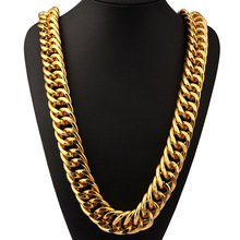 26mm Width 322g Super Heavy Mens Aluminum Hip Hop Chain 24k Solid Gold Filled Finish Thick Miami Cuban Link Necklace Chain(China)