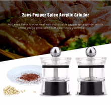 2pcs Pepper Spice Acrylic Grinder Seasoning Manual Mill Ceramic Core Stainless Steel Eco-friendly Cooking Kitchen Accessories