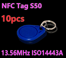 10pcs RFID Tag 13.56MHz S50 NFC Tags Key Tags Keyfobs Token Re-writable NFC Tag Keychain For Access Control System