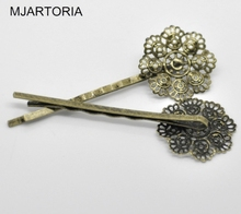 MJARTORIA Hair Accessories For Women Fashion 30PCs Bronze Tone Filigree Flower Bobby Pins Hairpins DIY Accessories 6.4x2.3cm(China)