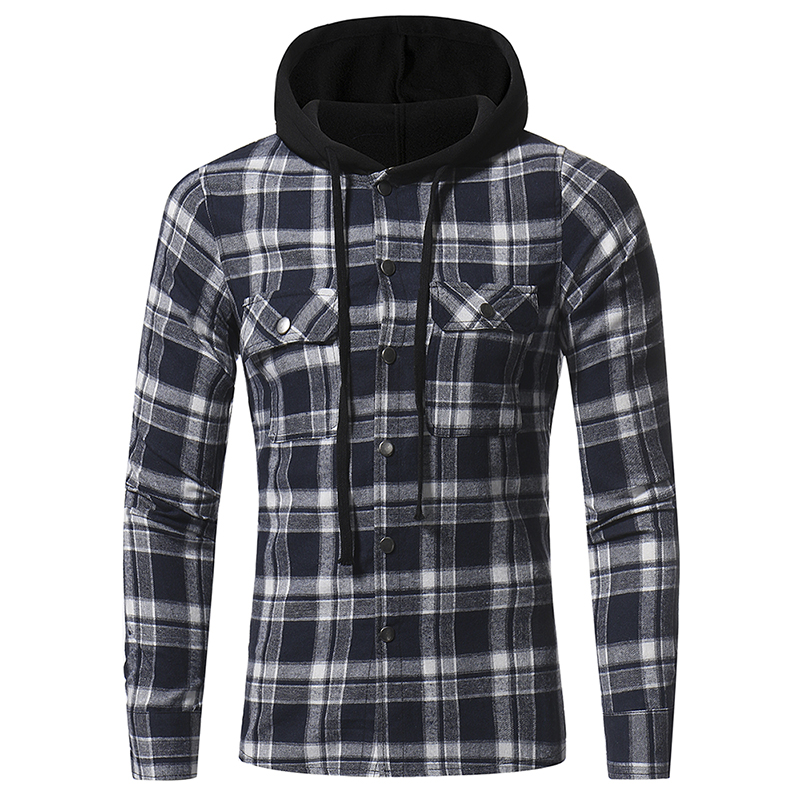 Plaid Shirt 2018 Autumn Fashion Shirts Men Casual Brand Clothing Men Shirt Long Sleeve Casual Lattice Hooded Camisa Social XXXL 6