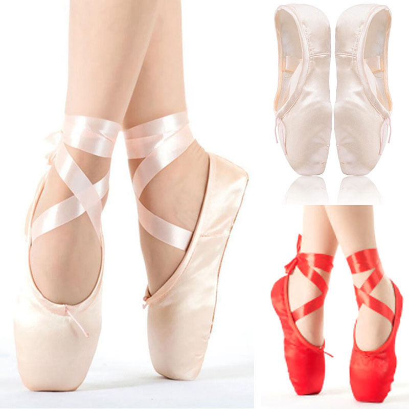 Girl Women/'s Pro Satin Ballet Pointe Shoes Ribbon Toe Dance Shoes All Size Gift
