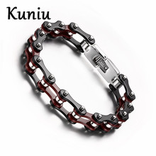 KUNIU Fashion Black red bike chain bracelets Stainless Steel High Quality Bangle bracelets men jewelry