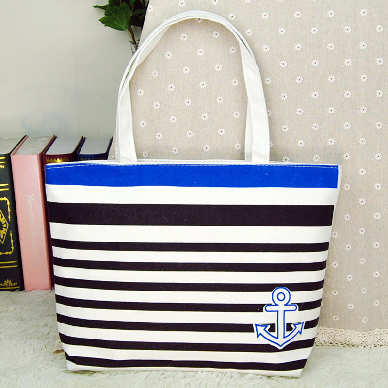 High quality women handbags made of Canvas with Blue Anchor Pattern Womens Shopping Shoulder Bags Female Handbag Beach wholesale<br><br>Aliexpress