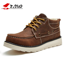 Z. Suo 1808 New Autumn Winter Men's Tooling Boots The Best Quality Crazy Horse Leather High Top Classic Man Work Shoes