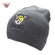 Casual bonnet Skull pattern hat for men beanies Basketball Embroidery Knitted wool plus velvet bone Cap Men's winter hats gorro(China)