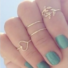 G023 New Anillos Gift Bijoux Boho Stacking Midi Finger Knuckle Rings Charm Crystal Love Leaf Heart Ring Set For Women Jewelry