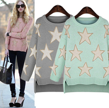 2016 New Fashion Women elegant Five Star pattern pullover O neck long sleeve knitwear stylish Casual Slim knitted sweater Tops