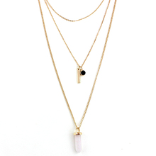 CHICVIE Quartz Natural Stone Long Chain Pendant Necklace For Women Pink Multilayer Necklaces Jewelry Wholesale SNE160067