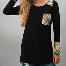 T Shirt Tops Women Fashion Fit Charming Girls Soft Tee Grid Long Sleeve Splicing Pocket Irregular Casual Top T-Shirt S/M/L/XL