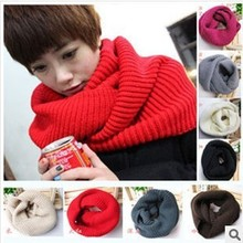 Winter Warm Ring Scarf Lic Women Wool Shawl Neck Solid Wrap Thicken Unisex Knitted Scarves Female bandana 2017 Sq306(China)