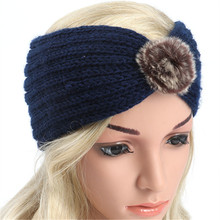 10pcs 2018 New Women Fur Flower Headband Solid Color Ear Warmer Knit Head Wraps Knitted Turban Elastic Wide Hair Band(China)