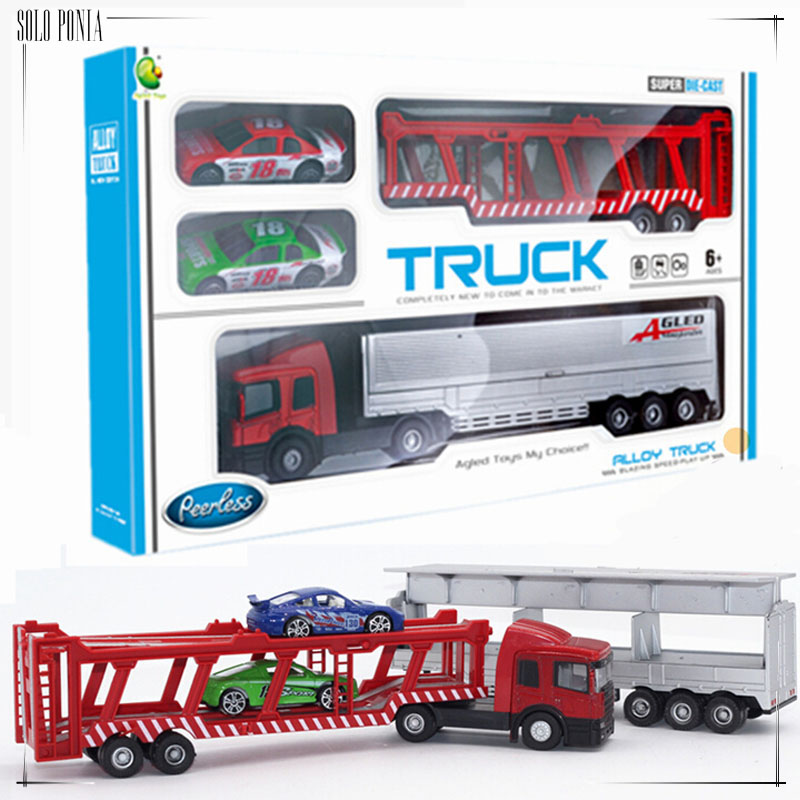 1:64 Diecast Alloy car model toy metal material vehicles big alloy truck toy race car transporter with 2 pieces small car C1017(China (Mainland))