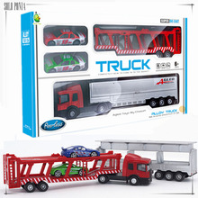 1:64 Diecast Alloy car model toy metal material vehicles big alloy truck toy race car transporter with 2 pieces small car C1017(China)
