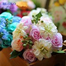 1Bunch Artifical Flowers Peony Rose Bridal Bouquet Plant Silk Flower For Home Wedding Decorative Floristry 5 Colors BQ011