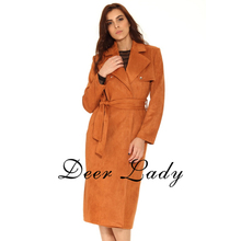 Hottest Styles 2016 Women Jacket Autumn And Winter Fashion Tan Suede Jacket  Belted Jacket Back Split Jacket High Quality HL