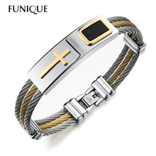 FUNIQUE Men's Bracelet 3Rows Wire Chain Bracelets Bangles Punk Rock Stainless Steel Cross Bracelet Men Christian Men Jewelry