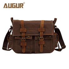 AUGUR Brand New Fashion Hot Selling Vintage Crazy Horse Leather And Canvas Messenger Bags Retro Casual Shoulder Bag AG0022