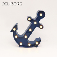 DELICORE New Arrival Anchor Blue 11 LED Marquee Sign LIGHT UP Vintage Plastic Night Light Wall Lamps Indoor Deration S014(China)