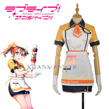 W1207-1 Love Live! Kousaka Honoka Cosplay Costume Ice Cream Unawakened Custom Orange Maid Unifrom Girl Skirt Apron Dress Hat(China)