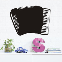 Removable Hollow Out Decoration Art Accordion Wall Decal Vinyl Wall Sticker Black Musical Instrument Home Decor Living Room