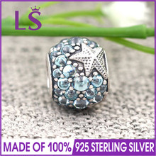 LS High Quality Genuine 925 Silver Oceanic Starfish Frosty Mint CZ Charm Beads Fit Original Bracelets Pulseira Encantos.J(China)