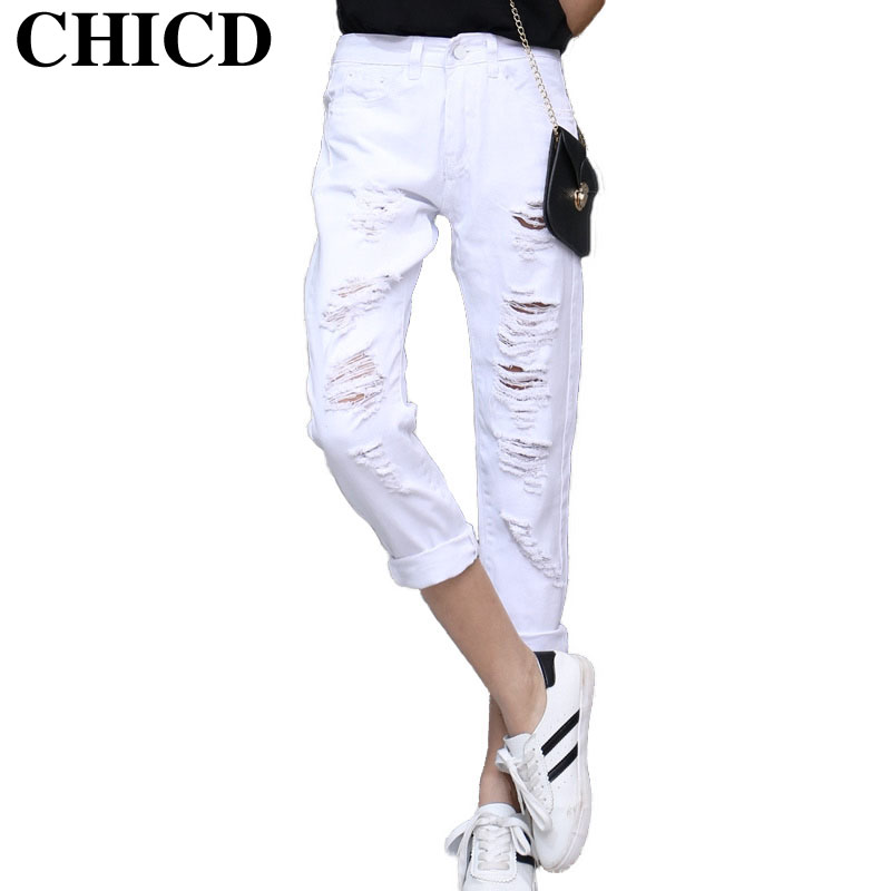 CHICD Fashion Casual Women Vintage Mid Waist Denim Jeans Slim Ripped Jeans Hole White Pants Female Sexy Girls Trousers XP316Одежда и ак�е��уары<br><br><br>Aliexpress