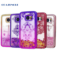Soft TPU Phone Case For Samsung Galaxy S7 Edge Plating shell Case Dynamic Liquid Glitter Quicksand Back Cover for Samsung S 7