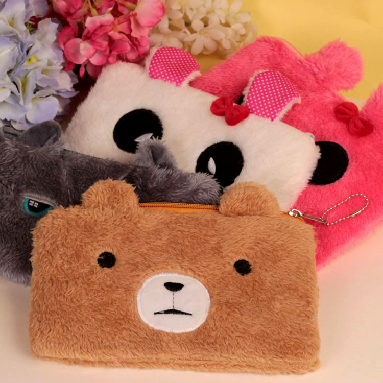 Bear pencil cases for girls Kawaii Plush panda pen bag stationery pouch kids gift school office supply Estuche 3