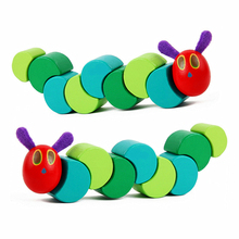 Simingyou Wooden Toys the Very Hungry Caterpillars Children Anime Toys Wooden Blocks Kids Fingers Flexible Blocks Montessori