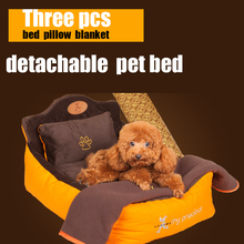 Detachable washable 3 pieces set (Pet bed + pillow + blanket)  dog bed Soft luxury pet Princess sofa Bed kennel dog teddy House