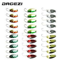 DAGEZI 30pcs/lot  metal Lure fishing bait spoon lures 3G fishing lure 6 colors Retail Box fishing tackle box pesca