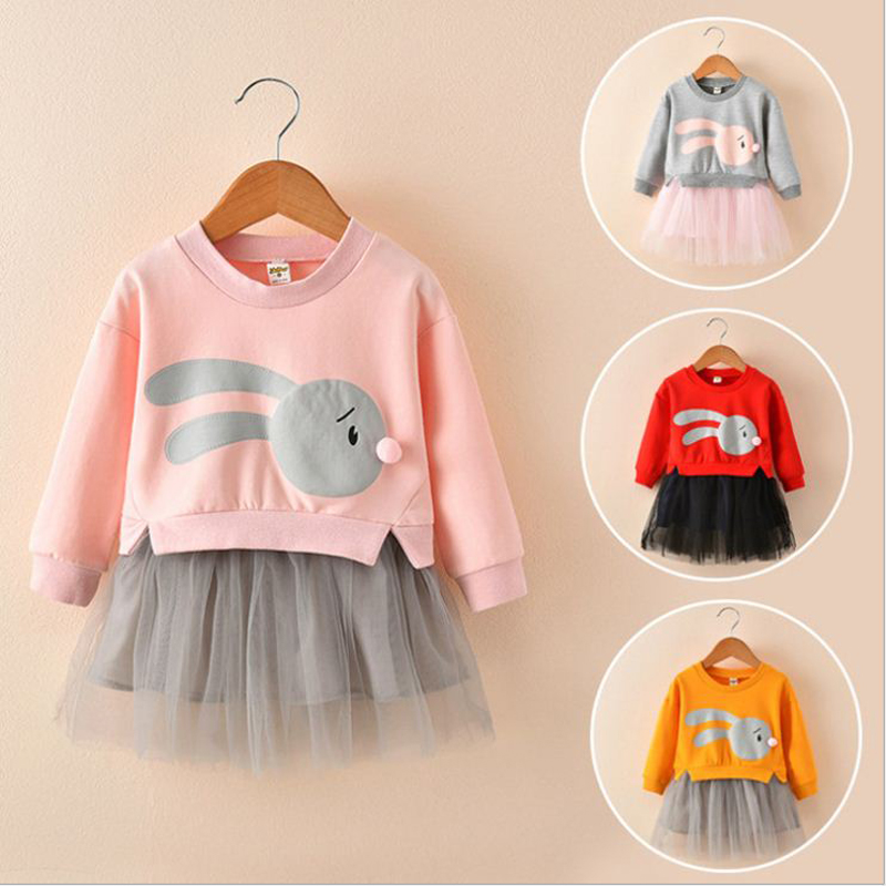 2019 Children girl Clothing fake two piece dress tutu ball gown mesh long sleeve cartoon patchwork pink red kid girls dresses