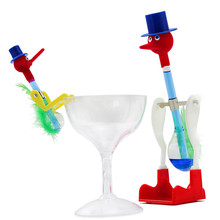 2 Pcs Happy Bobbing Drinking Bird Toy Adult Anti Stress Fidget Funny Toys for Children Play Joke Novelty Gift with Glass Cup