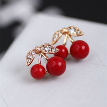 Fashion Korean Cute Red Cherry Leaf Beads Rhinestone Lovely Ear Stud Earrings jewelry Earrings for women Gift Free shipping