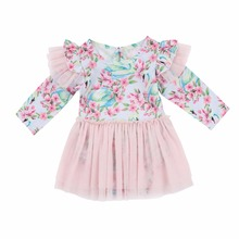 Baby Girl Long Sleeves Dress Pink Lace Floral Little Angel Pricess Style Clothes Girl's Spring Autumn Babies Girl Body Suit