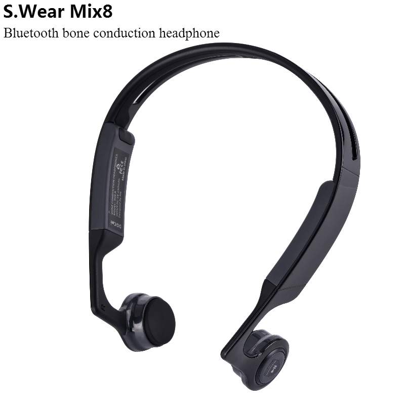 S.Wear Mix 8 Wireless Bluetooth Bone Conduction Headset Handfree Earphone Sports Headphones With Mic For Android IOS Smartphones<br>